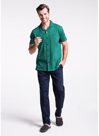 Dagi Pike Gömlek Kısa Kollu Pijama Takımı Yeşil